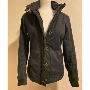 Prana Black Bomber Button Zip Jacket Size Small